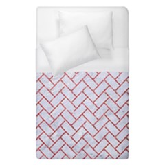 Brick2 White Marble & Red Glitter (r) Duvet Cover (single Size) by trendistuff