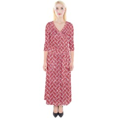 Brick2 White Marble & Red Glitter Quarter Sleeve Wrap Maxi Dress
