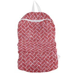 Brick2 White Marble & Red Glitter Foldable Lightweight Backpack