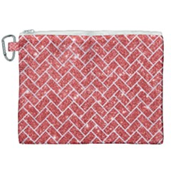 Brick2 White Marble & Red Glitter Canvas Cosmetic Bag (xxl)