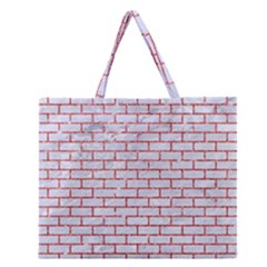 Brick1 White Marble & Red Glitter (r) Zipper Large Tote Bag by trendistuff