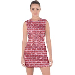 Brick1 White Marble & Red Glitter Lace Up Front Bodycon Dress