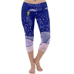 Christmas Tree Capri Yoga Leggings by Sapixe