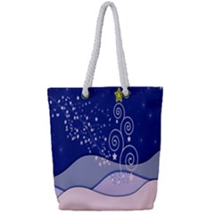 Christmas Tree Full Print Rope Handle Tote (small)