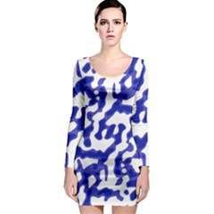 Bright Abstract Camo Pattern Long Sleeve Bodycon Dress by dflcprints