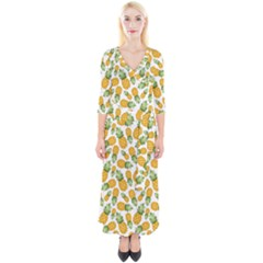 Pineapple Pattern Quarter Sleeve Wrap Maxi Dress