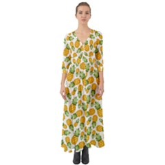 Pineapple Pattern Button Up Boho Maxi Dress by goljakoff