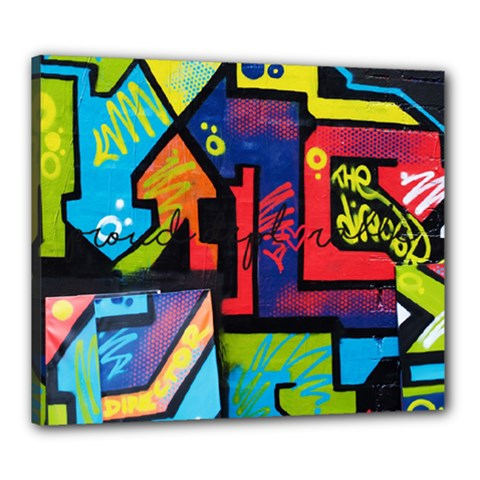 Urban Graffiti Movie Theme Productor Colorful Abstract Arrows Canvas 24  X 20  by MAGA