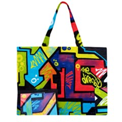 Urban Graffiti Movie Theme Productor Colorful Abstract Arrows Zipper Large Tote Bag