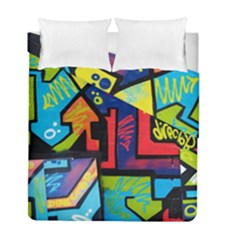 Urban Graffiti Movie Theme Productor Colorful Abstract Arrows Duvet Cover Double Side (full/ Double Size)