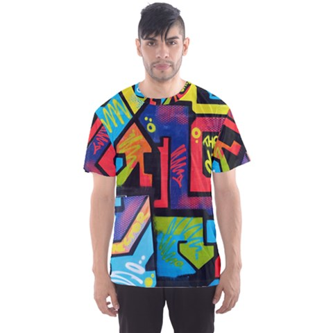 Urban Graffiti Movie Theme Productor Colorful Abstract Arrows Men s Sports Mesh Tee by genx