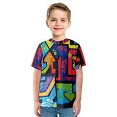Urban Graffiti Movie Theme Productor Colorful Abstract Arrows Kids  Sport Mesh Tee
