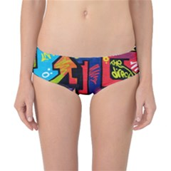 Urban Graffiti Movie Theme Productor Colorful Abstract Arrows Classic Bikini Bottoms by MAGA