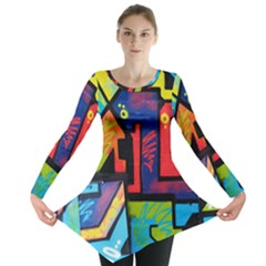 Urban Graffiti Movie Theme Productor Colorful Abstract Arrows Long Sleeve Tunic  by snek