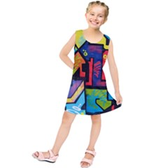 Urban Graffiti Movie Theme Productor Colorful Abstract Arrows Kids  Tunic Dress