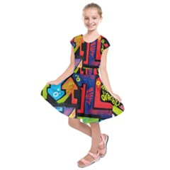 Urban Graffiti Movie Theme Productor Colorful Abstract Arrows Kids  Short Sleeve Dress