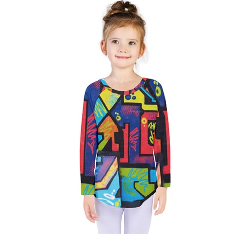 Urban Graffiti Movie Theme Productor Colorful Abstract Arrows Kids  Long Sleeve Tee by genx