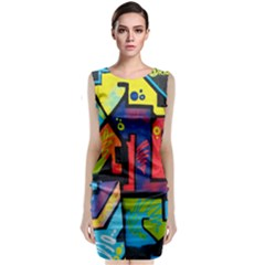 Urban Graffiti Movie Theme Productor Colorful Abstract Arrows Sleeveless Velvet Midi Dress