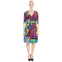 Urban Graffiti Movie Theme Productor Colorful Abstract Arrows Wrap Up Cocktail Dress by MAGA