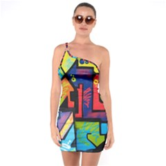 Urban Graffiti Movie Theme Productor Colorful Abstract Arrows One Soulder Bodycon Dress by MAGA