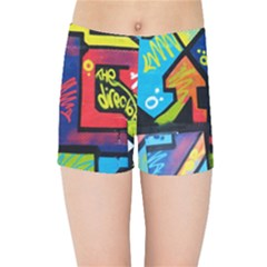 Urban Graffiti Movie Theme Productor Colorful Abstract Arrows Kids Sports Shorts by genx