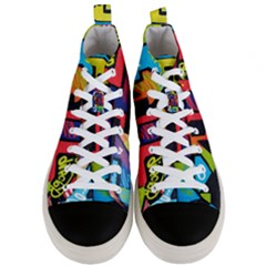 Urban Graffiti Movie Theme Productor Colorful Abstract Arrows Men s Mid Top Canvas Sneakers