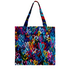 Graffiti Hearts Street Art Spray Paint Rad Zipper Grocery Tote Bag