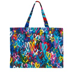 Graffiti Hearts Street Art Spray Paint Rad Zipper Large Tote Bag by MAGA