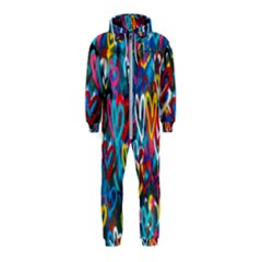 Graffiti Hearts Street Art Spray Paint Rad Hooded Jumpsuit (kids)