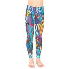 Graffiti Hearts Street Art Spray Paint Rad Kids  Legging by genx