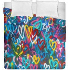 Graffiti Hearts Street Art Spray Paint Rad Duvet Cover Double Side (king Size)