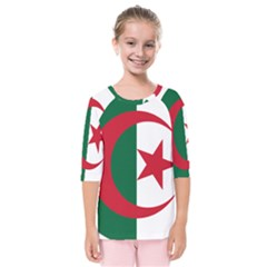 Roundel Of Algeria Air Force Kids  Quarter Sleeve Raglan Tee