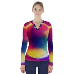 Colorful Glowing V Neck Long Sleeve Top