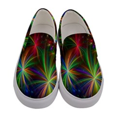 Colorful Firework Celebration Graphics Women s Canvas Slip Ons