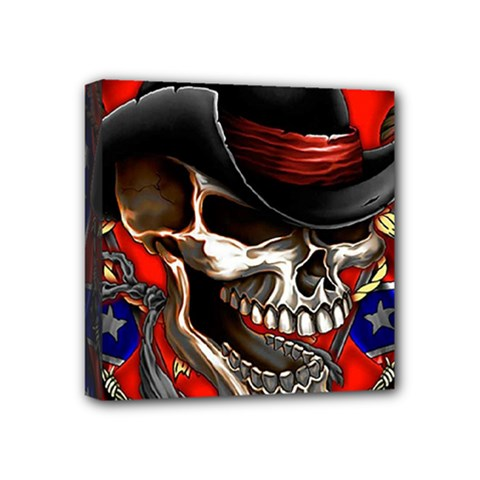 Confederate Flag Usa America United States Csa Civil War Rebel Dixie Military Poster Skull Mini Canvas 4  X 4  by Sapixe
