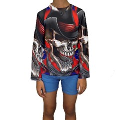 Confederate Flag Usa America United States Csa Civil War Rebel Dixie Military Poster Skull Kids  Long Sleeve Swimwear by Sapixe