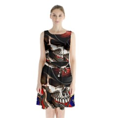 Confederate Flag Usa America United States Csa Civil War Rebel Dixie Military Poster Skull Sleeveless Waist Tie Chiffon Dress by Sapixe