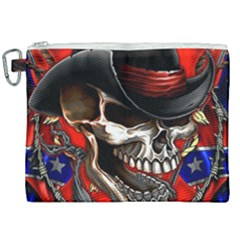 Confederate Flag Usa America United States Csa Civil War Rebel Dixie Military Poster Skull Canvas Cosmetic Bag (xxl) by Sapixe
