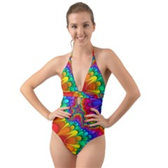 Colorful Trippy Halter Cut Out One Piece Swimsuit