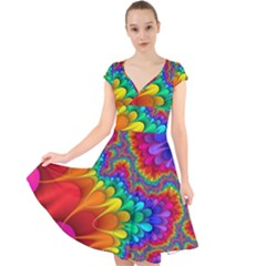 Colorful Trippy Cap Sleeve Front Wrap Midi Dress