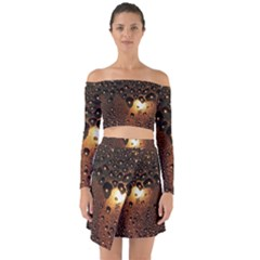 Condensation Abstract Off Shoulder Top With Skirt Set