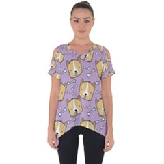 Dog Pattern Cut Out Side Drop Tee