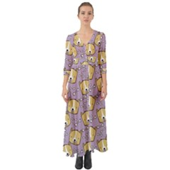 Dog Pattern Button Up Boho Maxi Dress by Sapixe