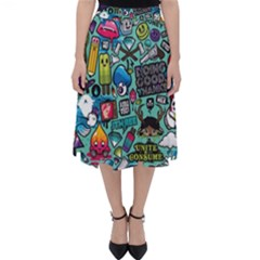 Comics Collage Folding Skater Skirt by Sapixe