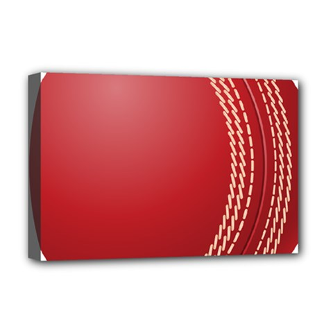 Cricket Ball Deluxe Canvas 18  X 12   by Sapixe