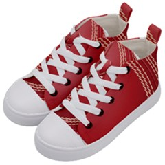 Cricket Ball Kid s Mid Top Canvas Sneakers by Sapixe