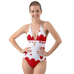 Heart Shape Background Love Halter Cut Out One Piece Swimsuit