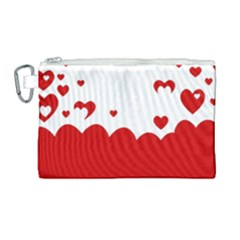 Heart Shape Background Love Canvas Cosmetic Bag (large) by Nexatart