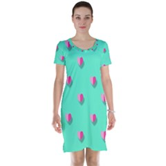 Love Heart Set Seamless Pattern Short Sleeve Nightdress