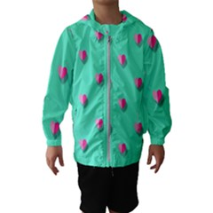 Love Heart Set Seamless Pattern Hooded Wind Breaker (kids)